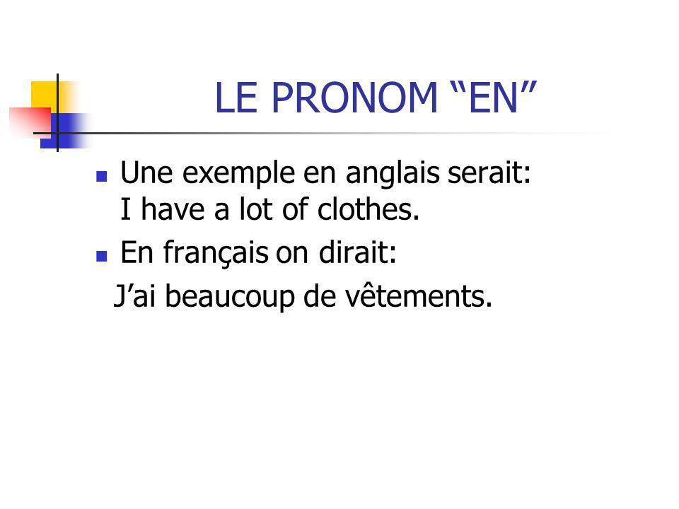 LE PRONOM EN Une exemple en anglais serait: I have a lot of clothes. En français on dirait: Jai beaucoup de vêtements.