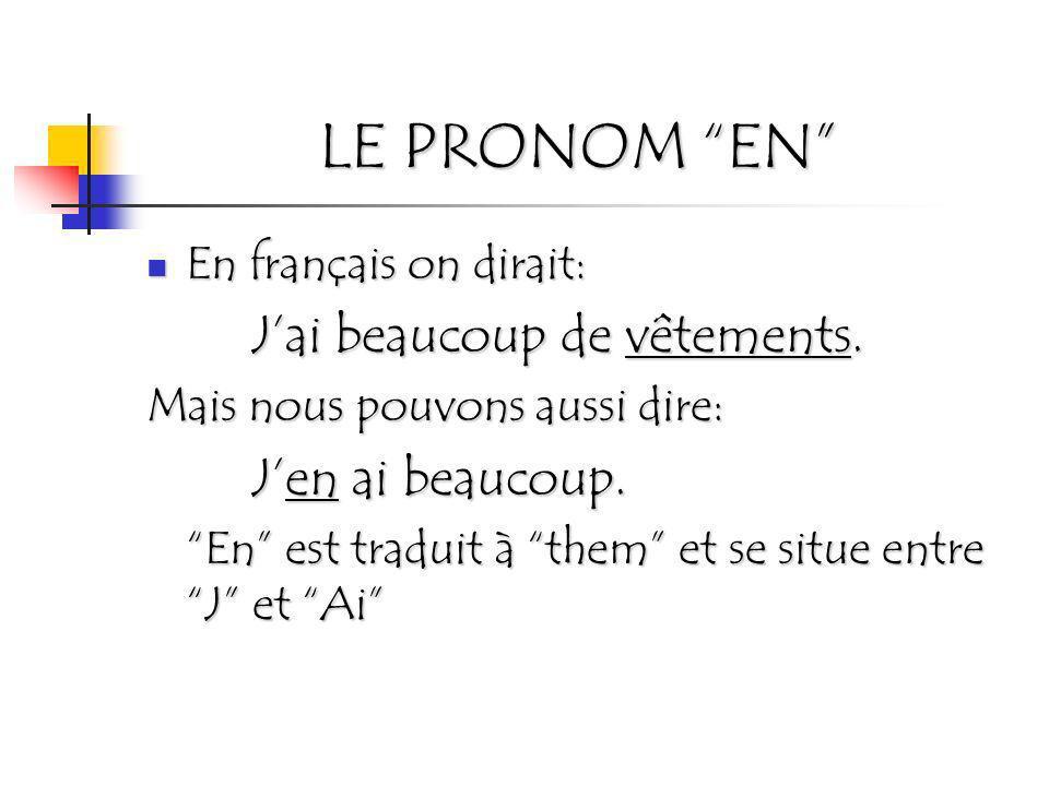 LE PRONOM EN En français on dirait: En français on dirait: Jai beaucoup de vêtements. Mais nous pouvons aussi dire: Jen ai beaucoup. En est traduit à