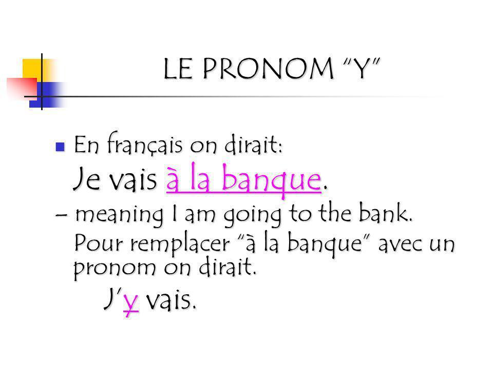 LE PRONOM Y En français on dirait: Je vais à la banque. – meaning I am going to the bank. Pour remplacer à la banque avec un pronom on dirait. Jy vais