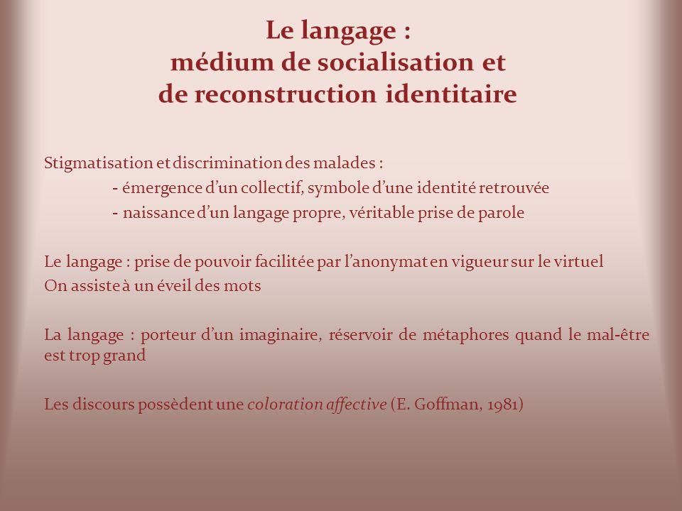 Le langage : médium de socialisation et de reconstruction identitaire Stigmatisation et discrimination des malades : - émergence dun collectif, symbol