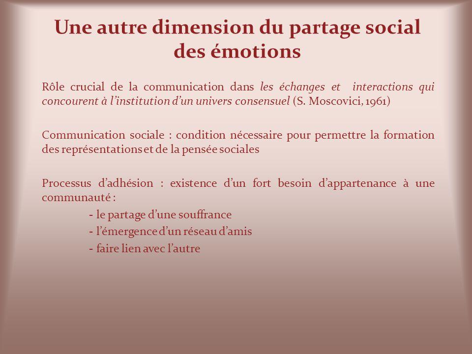Une autre dimension du partage social des émotions Rôle crucial de la communication dans les échanges et interactions qui concourent à linstitution du