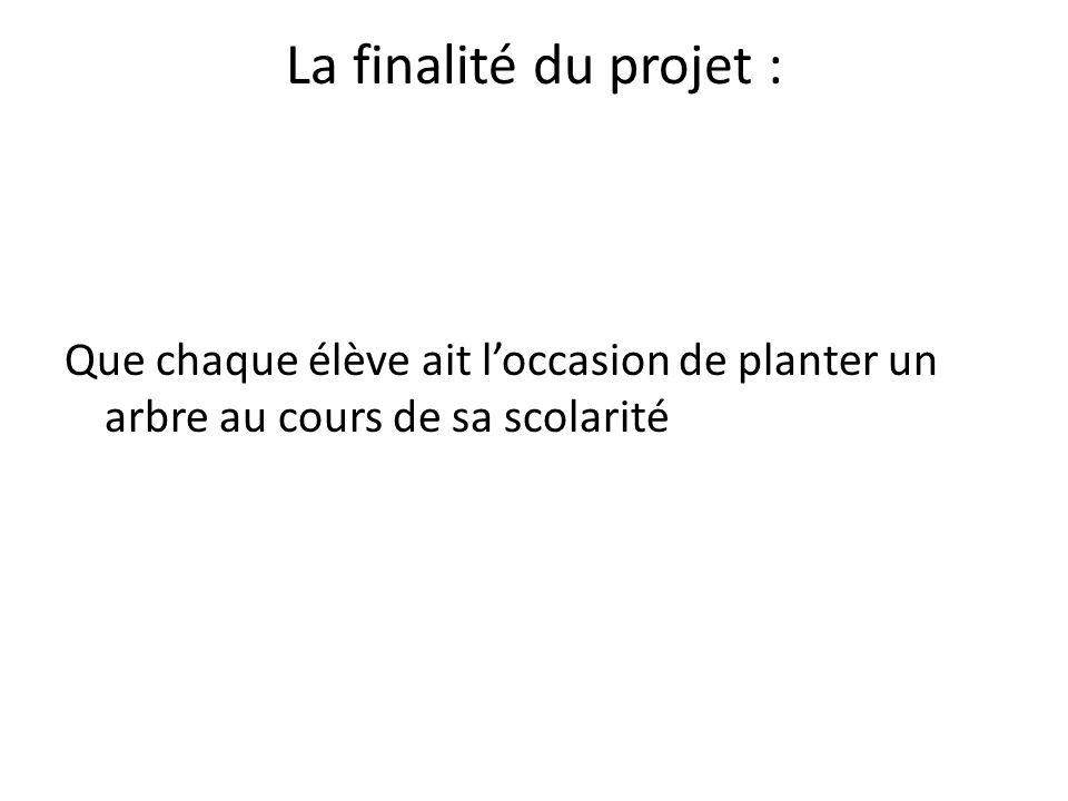 La finalité du projet : Que chaque élève ait loccasion de planter un arbre au cours de sa scolarité