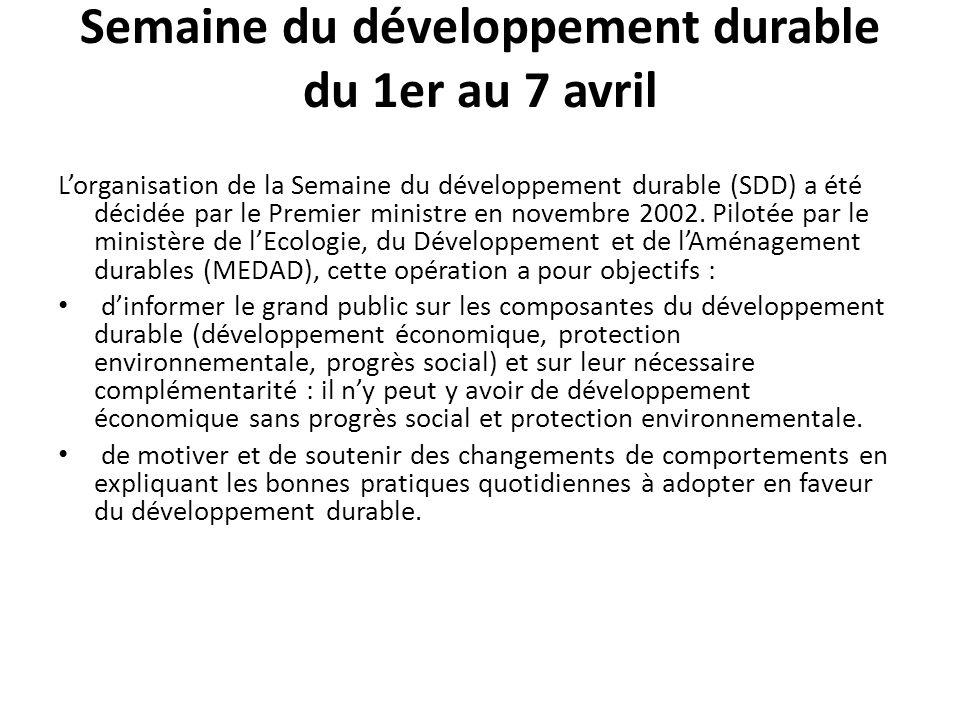 Semaine du développement durable du 1er au 7 avril Lorganisation de la Semaine du développement durable (SDD) a été décidée par le Premier ministre en