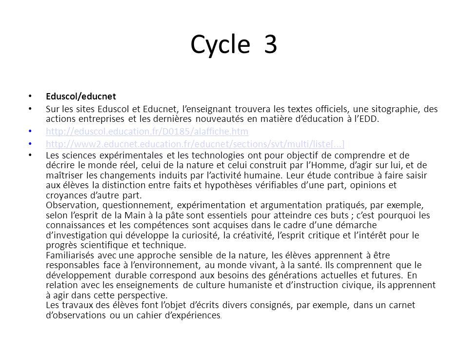 Cycle 3 Eduscol/educnet Sur les sites Eduscol et Educnet, lenseignant trouvera les textes officiels, une sitographie, des actions entreprises et les d