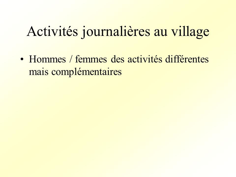 Activités journalières au village Hommes / femmes des activités différentes mais complémentaires
