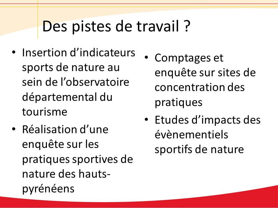 Des pistes de travail ? Insertion dindicateurs sports de nature au sein de lobservatoire départemental du tourisme Réalisation dune enquête sur les pr
