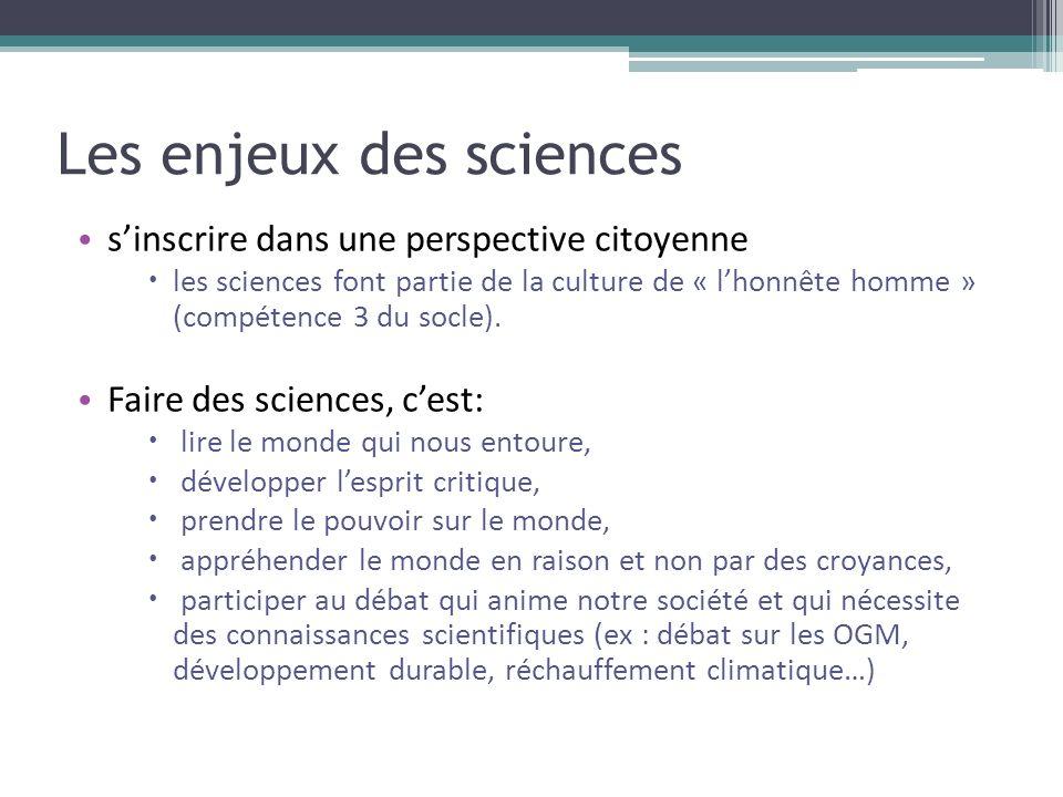 Les enjeux des sciences sinscrire dans une perspective citoyenne les sciences font partie de la culture de « lhonnête homme » (compétence 3 du socle).