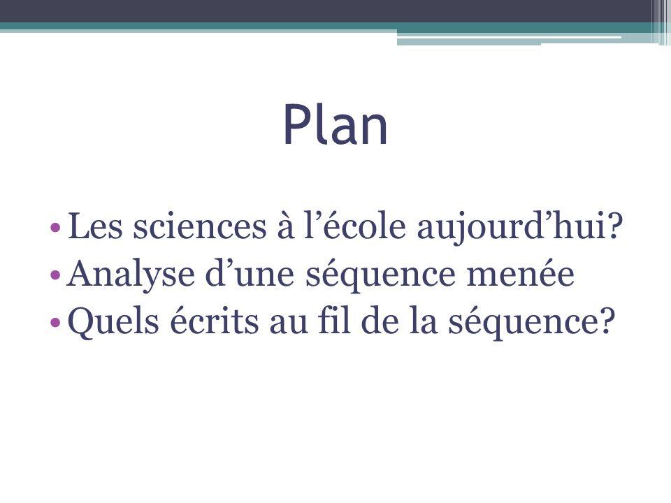 Plan Les sciences à lécole aujourdhui? Analyse dune séquence menée Quels écrits au fil de la séquence?