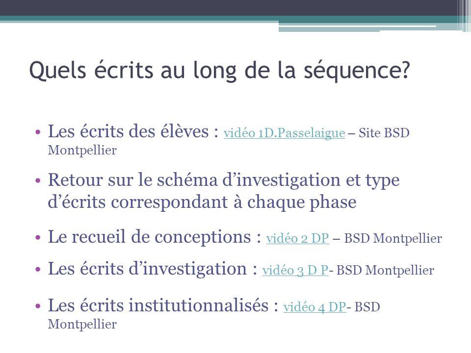 Quels écrits au long de la séquence? Les écrits des élèves : vidéo 1D.Passelaigue – Site BSD Montpellier vidéo 1D.Passelaigue Retour sur le schéma din