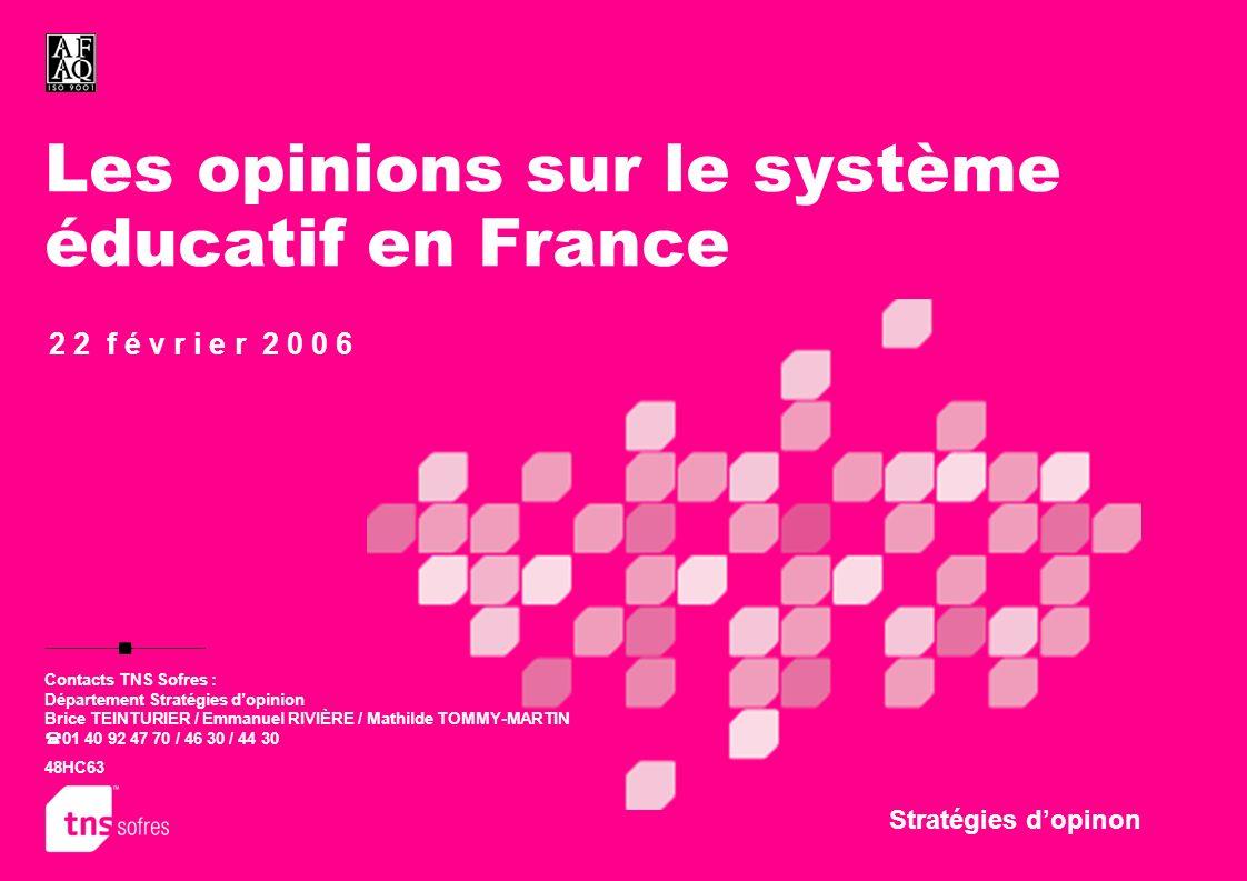 Les opinions sur le système éducatif en France Stratégies dopinon 2 2 f é v r i e r 2 0 0 6 Contacts TNS Sofres : Département Stratégies dopinion Bric