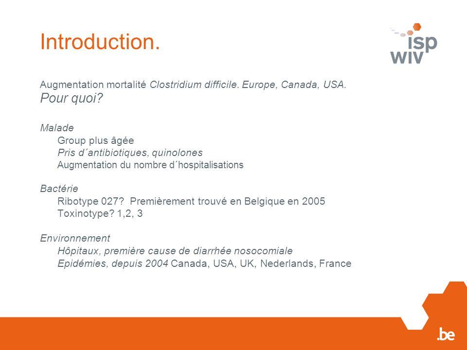 Introduction. Augmentation mortalité Clostridium difficile. Europe, Canada, USA. Pour quoi? Malade Group plus âgée Pris d´antibiotiques, quinolones Au