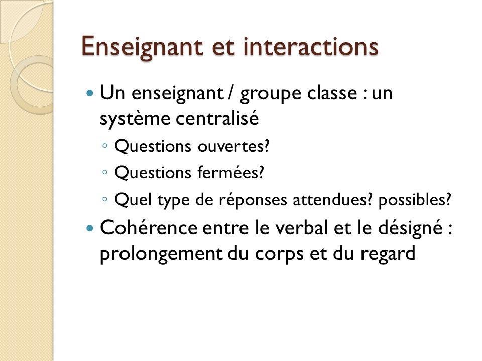 Enseignant et interactions Un enseignant / groupe classe : un système centralisé Questions ouvertes? Questions fermées? Quel type de réponses attendue
