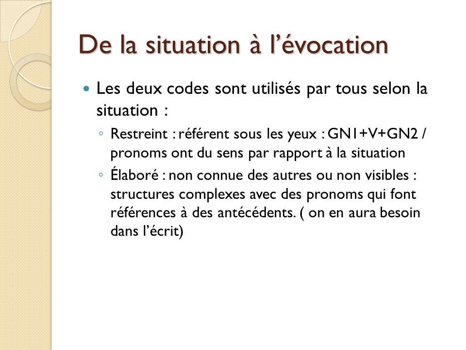 De la situation à lévocation Les deux codes sont utilisés par tous selon la situation : Restreint : référent sous les yeux : GN1+V+GN2 / pronoms ont du sens par rapport à la situation Élaboré : non connue des autres ou non visibles : structures complexes avec des pronoms qui font références à des antécédents.