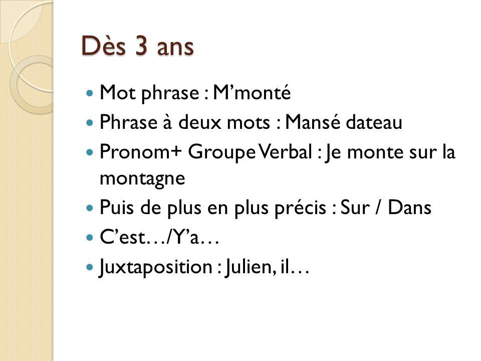 Dès 3 ans Mot phrase : Mmonté Phrase à deux mots : Mansé dateau Pronom+ Groupe Verbal : Je monte sur la montagne Puis de plus en plus précis : Sur / D