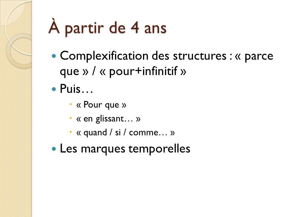 À partir de 4 ans Complexification des structures : « parce que » / « pour+infinitif » Puis… « Pour que » « en glissant… » « quand / si / comme… » Les marques temporelles