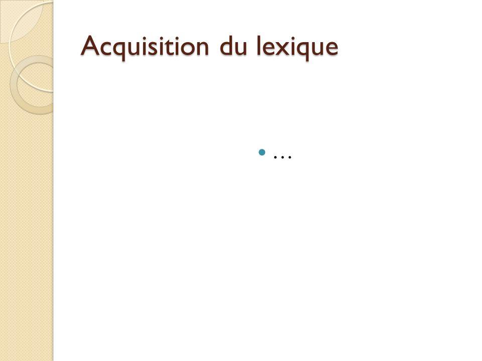Acquisition du lexique …