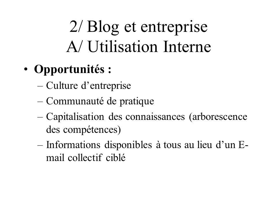2/ Blog et entreprise A/ Utilisation Interne Opportunités : –Culture dentreprise –Communauté de pratique –Capitalisation des connaissances (arborescence des compétences) –Informations disponibles à tous au lieu dun E- mail collectif ciblé