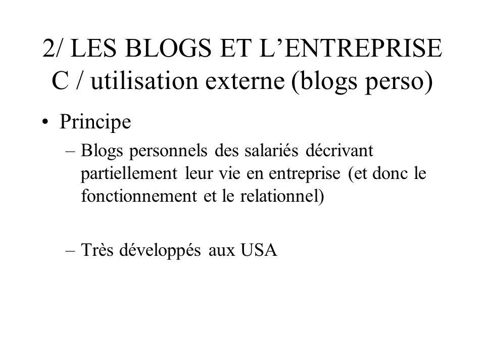 2/ LES BLOGS ET LENTREPRISE C / utilisation externe (blogs perso) Principe –Blogs personnels des salariés décrivant partiellement leur vie en entreprise (et donc le fonctionnement et le relationnel) –Très développés aux USA