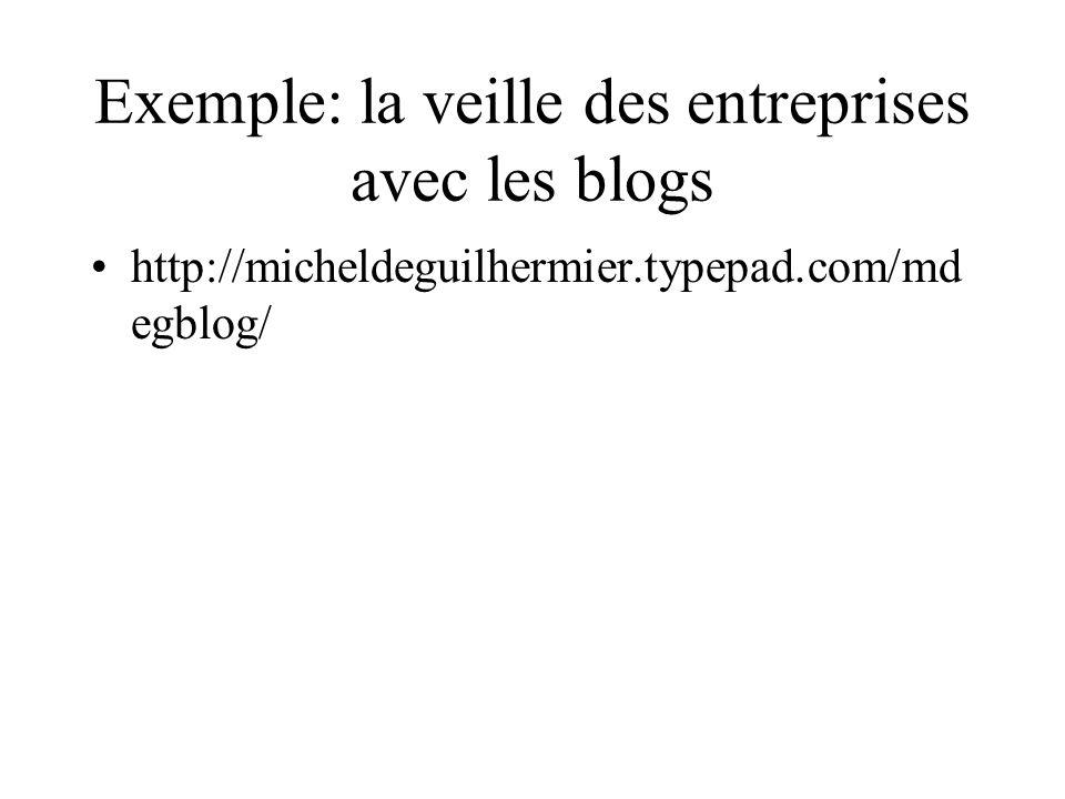 Exemple: la veille des entreprises avec les blogs http://micheldeguilhermier.typepad.com/md egblog/