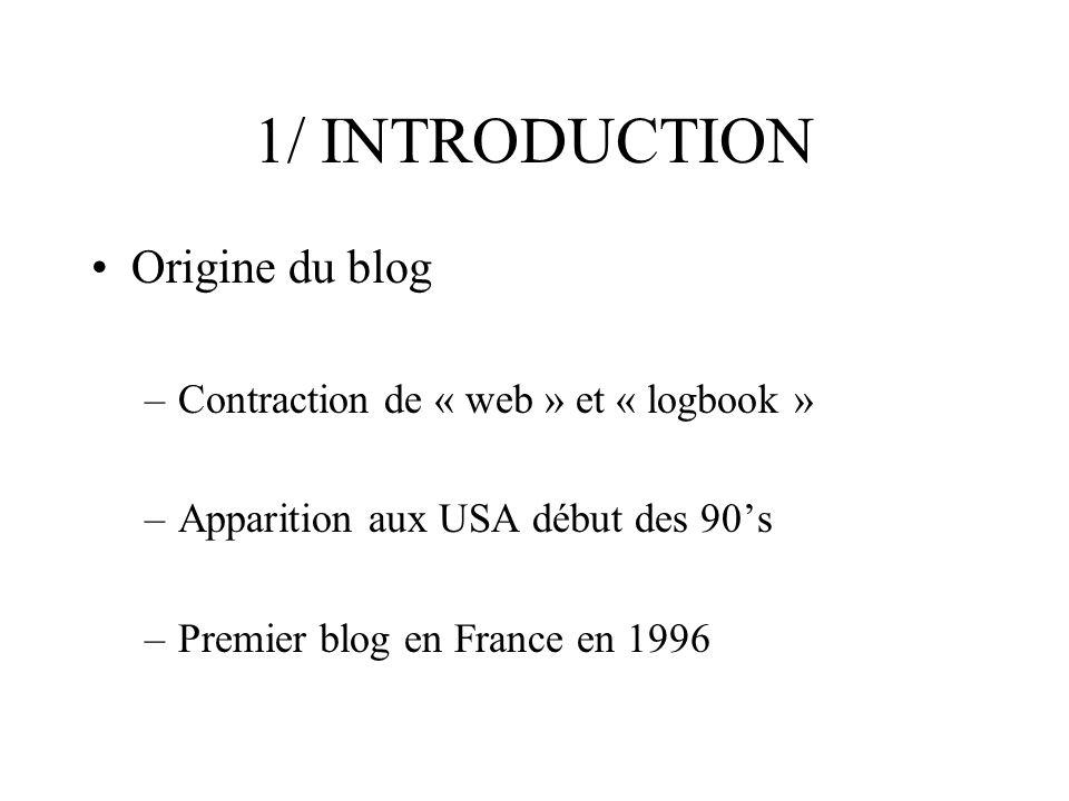 1/ INTRODUCTION Les diverses utilisations du blog .