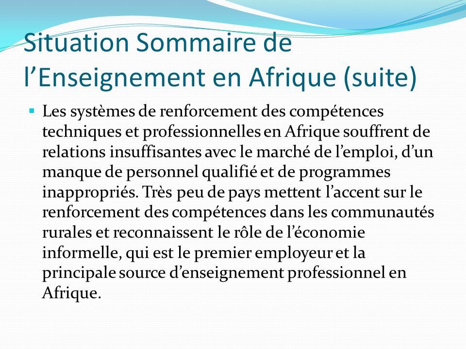 Situation Sommaire de lEnseignement en Afrique (suite) Les systèmes de renforcement des compétences techniques et professionnelles en Afrique souffren