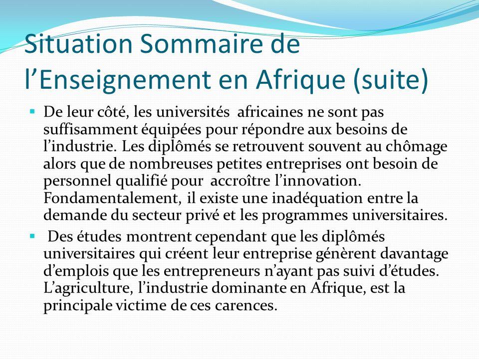 Situation Sommaire de lEnseignement en Afrique (suite) De leur côté, les universités africaines ne sont pas suffisamment équipées pour répondre aux be