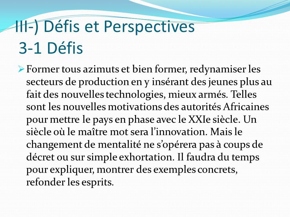 III-) Défis et Perspectives 3-1 Défis Former tous azimuts et bien former, redynamiser les secteurs de production en y insérant des jeunes plus au fait