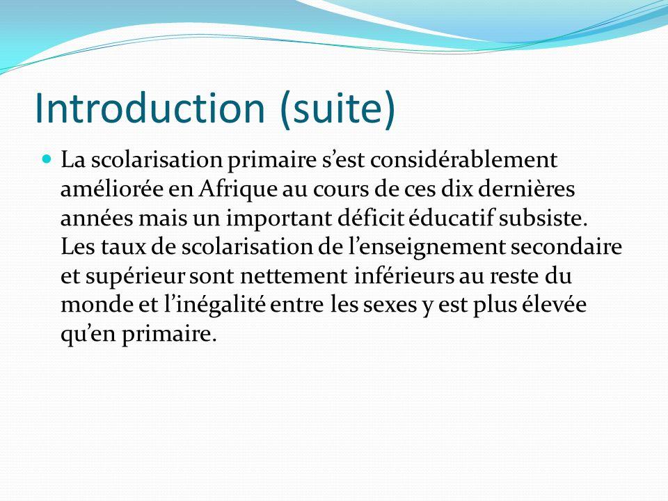 Introduction (suite) La scolarisation primaire sest considérablement améliorée en Afrique au cours de ces dix dernières années mais un important défic