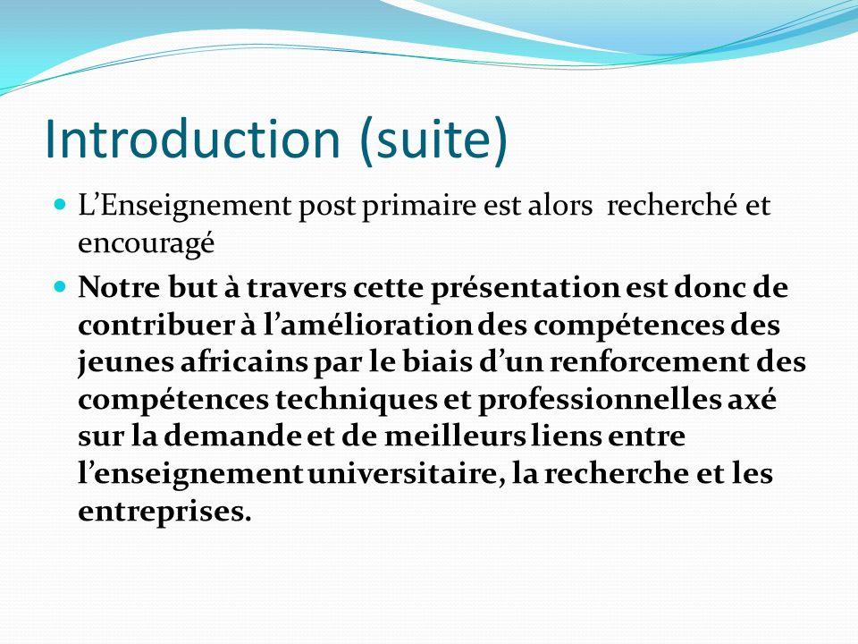 Introduction (suite) LEnseignement post primaire est alors recherché et encouragé Notre but à travers cette présentation est donc de contribuer à lamé