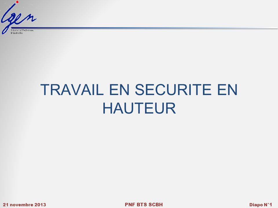 21 novembre 2013 PNF BTS SCBH Diapo N° 1 TRAVAIL EN SECURITE EN HAUTEUR