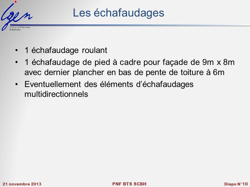 21 novembre 2013 PNF BTS SCBH Diapo N° 10 Les échafaudages 1 échafaudage roulant 1 échafaudage de pied à cadre pour façade de 9m x 8m avec dernier pla