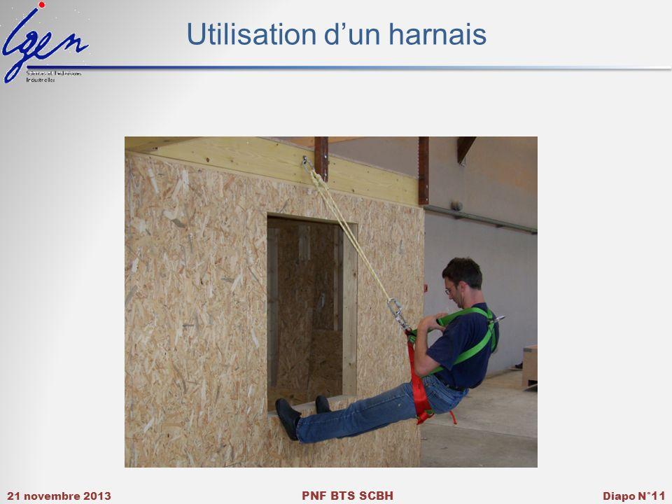 21 novembre 2013 PNF BTS SCBH Diapo N° 11 Utilisation dun harnais