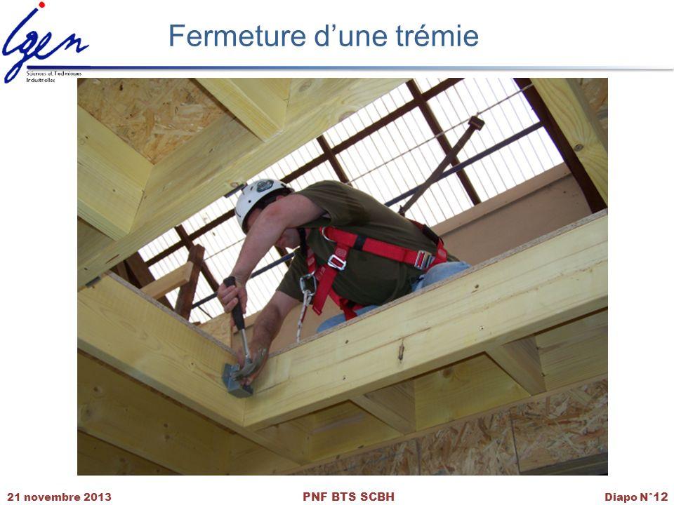 21 novembre 2013 PNF BTS SCBH Diapo N° 12 Fermeture dune trémie