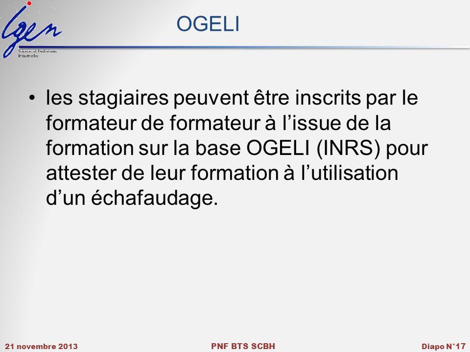 21 novembre 2013 PNF BTS SCBH Diapo N° 17 OGELI les stagiaires peuvent être inscrits par le formateur de formateur à lissue de la formation sur la bas