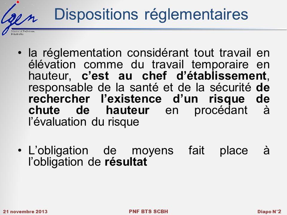 21 novembre 2013 PNF BTS SCBH Diapo N° 2 Dispositions réglementaires la réglementation considérant tout travail en élévation comme du travail temporai