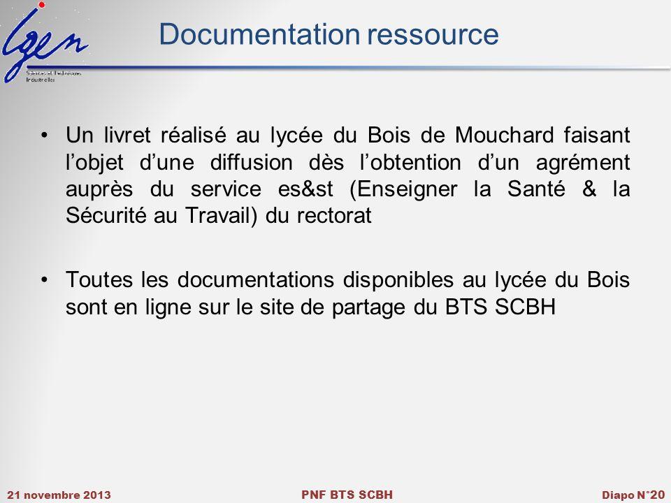 21 novembre 2013 PNF BTS SCBH Diapo N° 20 Documentation ressource Un livret réalisé au lycée du Bois de Mouchard faisant lobjet dune diffusion dès lob