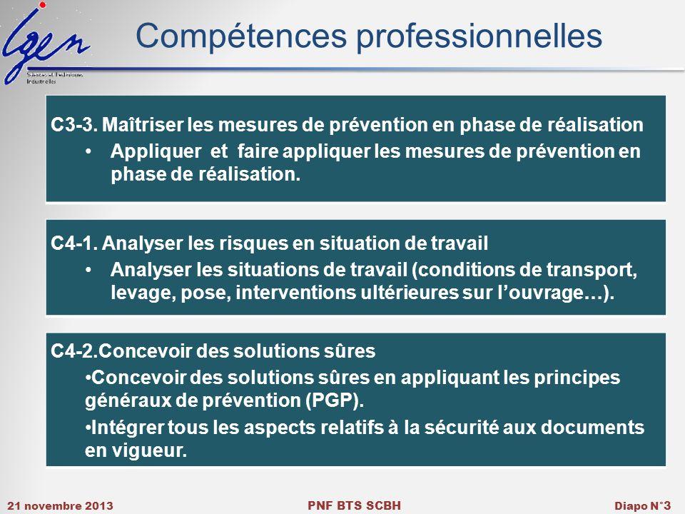 21 novembre 2013 PNF BTS SCBH Diapo N° 3 Compétences professionnelles C3-3. Maîtriser les mesures de prévention en phase de réalisation Appliquer et f