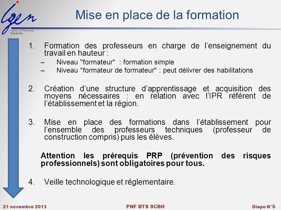 21 novembre 2013 PNF BTS SCBH Diapo N° 5 Mise en place de la formation 1.Formation des professeurs en charge de lenseignement du travail en hauteur :