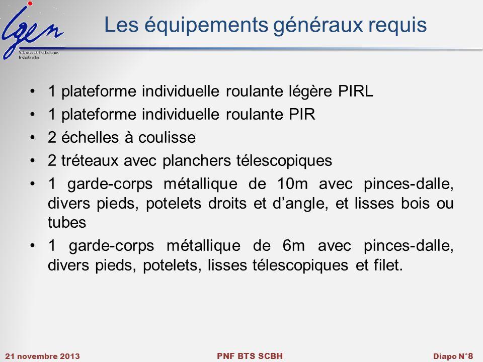 21 novembre 2013 PNF BTS SCBH Diapo N° 8 Les équipements généraux requis 1 plateforme individuelle roulante légère PIRL 1 plateforme individuelle roul