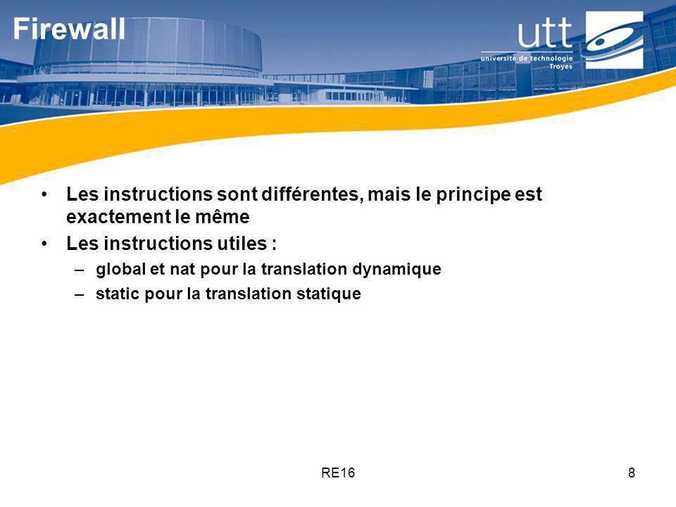 RE168 Firewall Les instructions sont différentes, mais le principe est exactement le même Les instructions utiles : –global et nat pour la translation