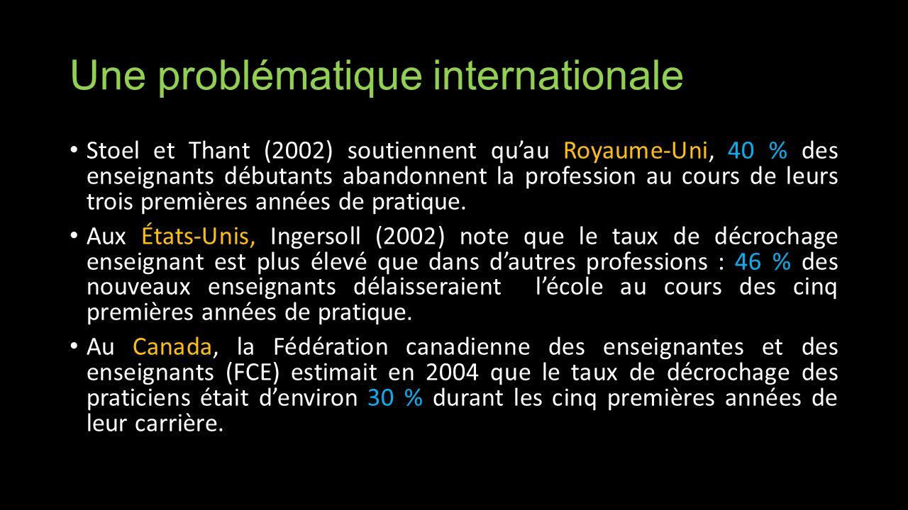 Une problématique internationale Stoel et Thant (2002) soutiennent quau Royaume-Uni, 40 % des enseignants débutants abandonnent la profession au cours de leurs trois premières années de pratique.