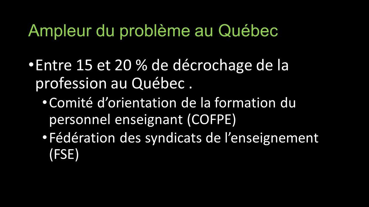 Ampleur du problème au Québec Entre 15 et 20 % de décrochage de la profession au Québec.