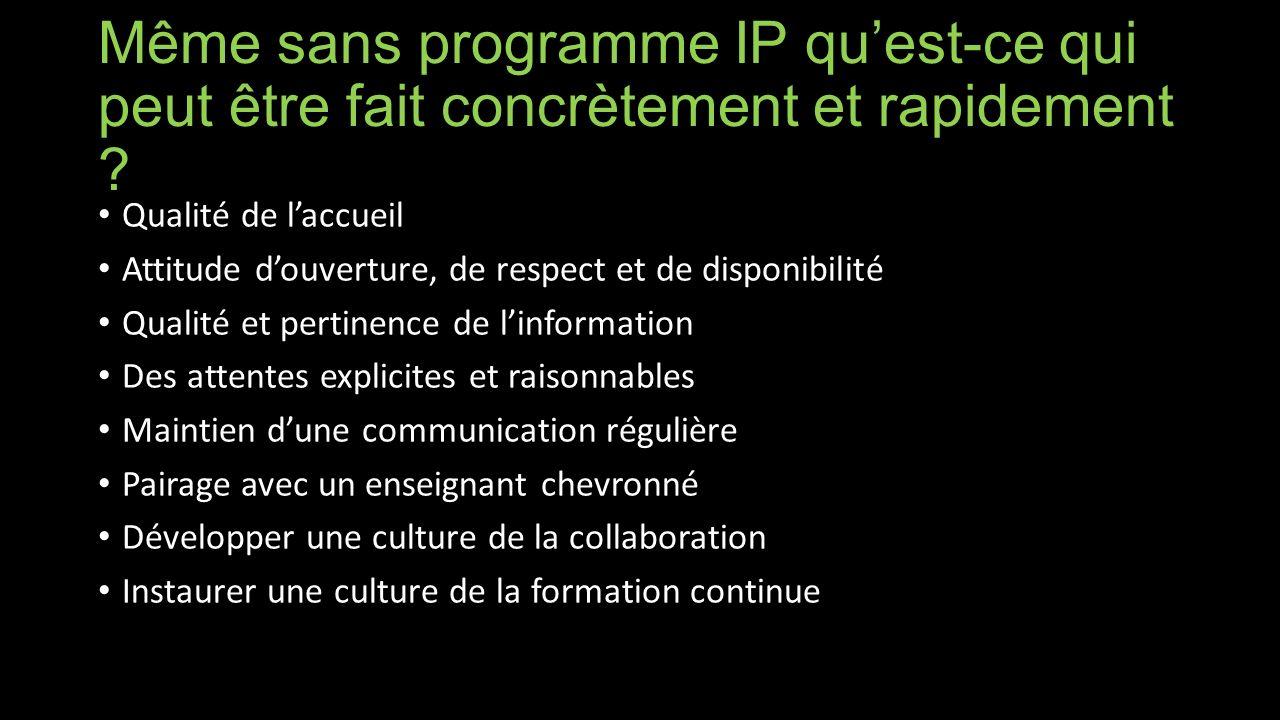 Même sans programme IP quest-ce qui peut être fait concrètement et rapidement .