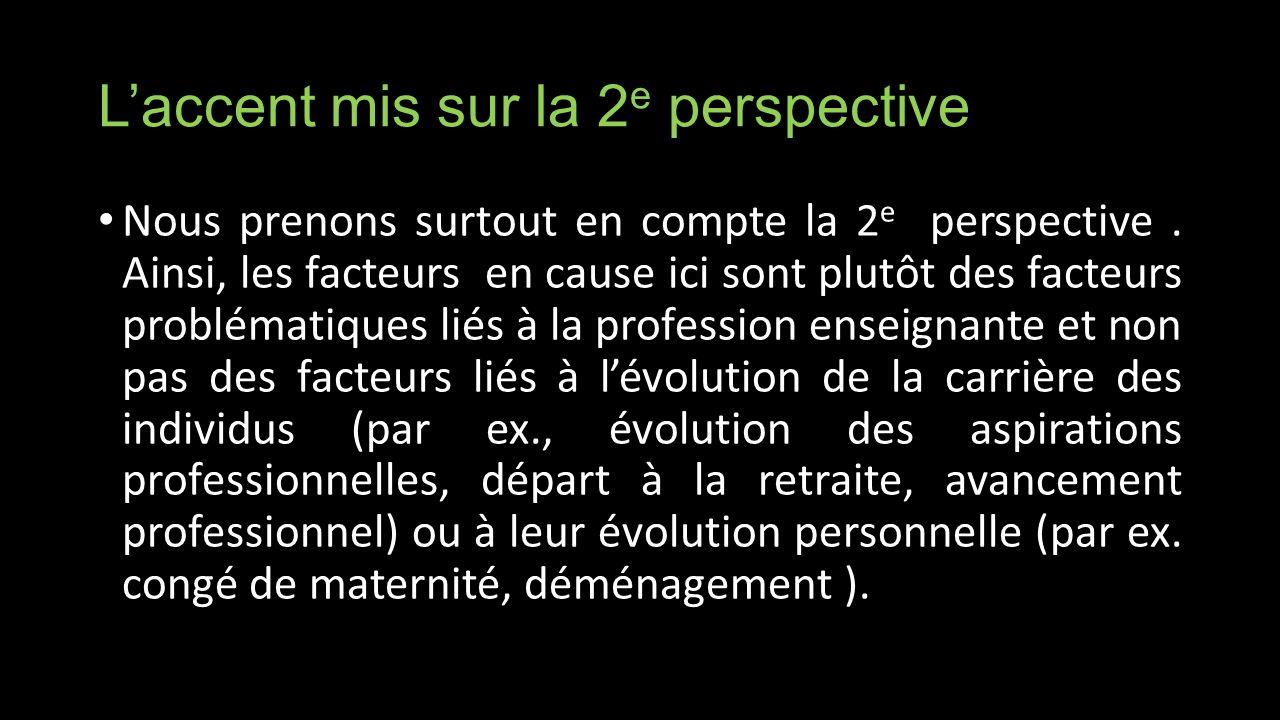 Laccent mis sur la 2 e perspective Nous prenons surtout en compte la 2 e perspective.