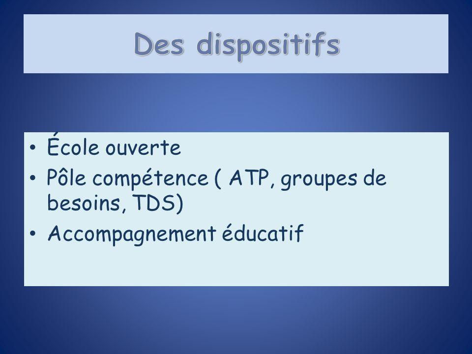 École ouverte Pôle compétence ( ATP, groupes de besoins, TDS) Accompagnement éducatif