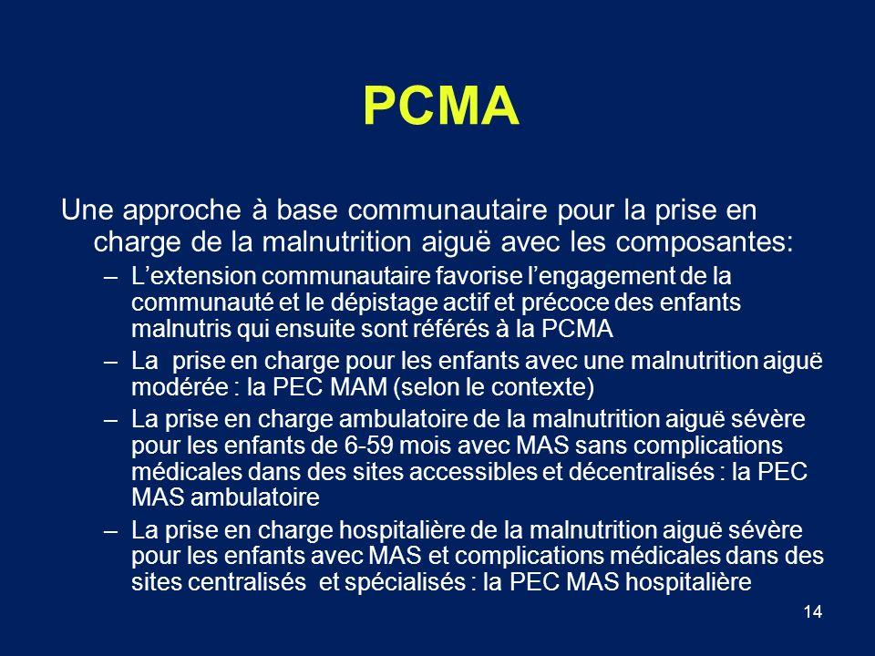 14 PCMA Une approche à base communautaire pour la prise en charge de la malnutrition aiguë avec les composantes: –Lextension communautaire favorise le