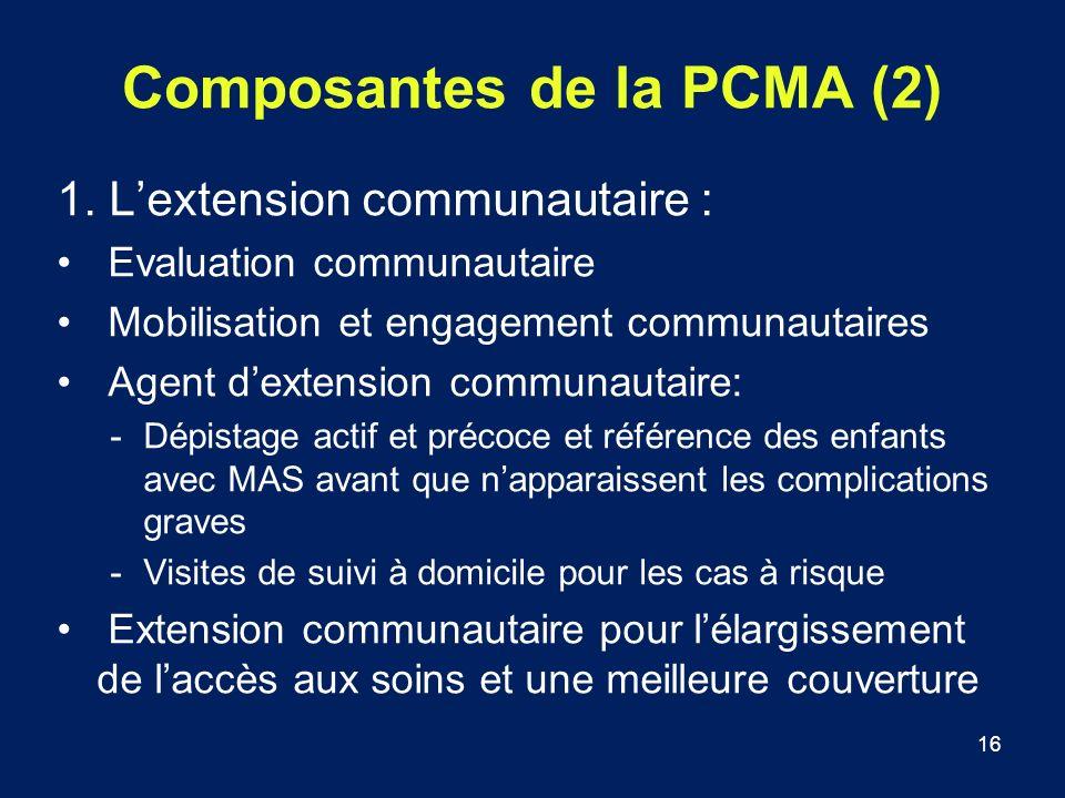 16 Composantes de la PCMA (2) 1. Lextension communautaire : Evaluation communautaire Mobilisation et engagement communautaires Agent dextension commun