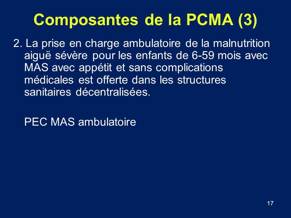 17 Composantes de la PCMA (3) 2. La prise en charge ambulatoire de la malnutrition aiguë sévère pour les enfants de 6-59 mois avec MAS avec appétit et