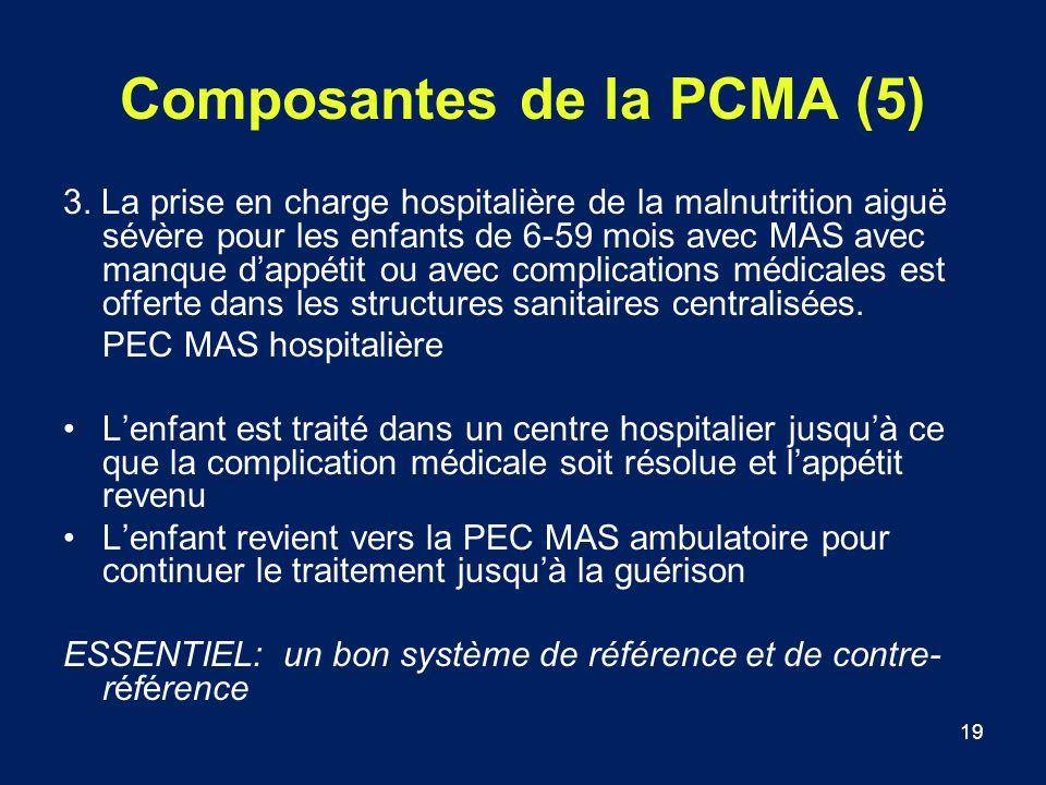 19 Composantes de la PCMA (5) 3. La prise en charge hospitalière de la malnutrition aiguë sévère pour les enfants de 6-59 mois avec MAS avec manque da