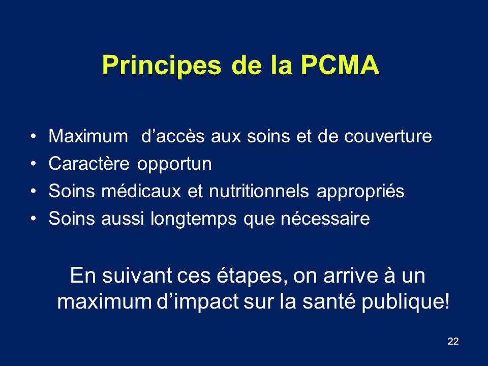 22 Principes de la PCMA Maximum daccès aux soins et de couverture Caractère opportun Soins médicaux et nutritionnels appropriés Soins aussi longtemps